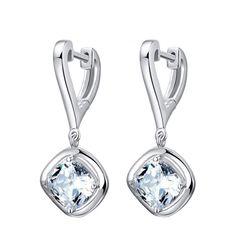 925 Sterling Silver Dazzling Zircon Dangle Earrings Studs Lady Women Jewelry