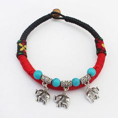 Madewell Red & Blue Beads Decorated Elephant Shape Pendant Design Alloy Korean Fashion Bracelet :Asujewelry.com