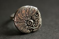 Squid Ring. Pewter Button Ring. Beach by StumblingOnSainthood