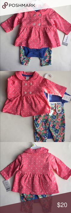 Beautiful CARTERS 3piece outfit with jacket baby's New with tags beautiful 3piece outfit by CARTERS! Includes adorable polka dot button jacket that can be worn with other outfits, a matching onesie and a pair of floral leggings🙀 Matching Sets