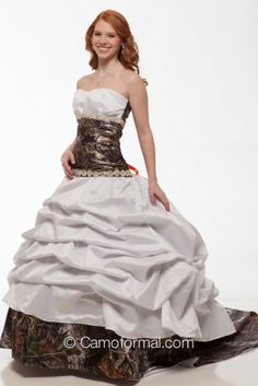 3140 Camo and Faux Crystal Wedding Gown shown in White and Mossy Oak