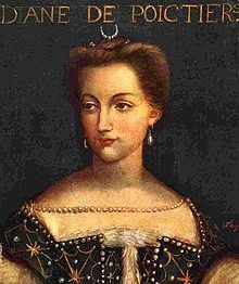 Diane de Poitiers (1499 - 1566). Mistress of Henri II from 1538 to his death in 1559. She completely controlled the King and his court, and placed herself above the queen. After Henri died, the queen forced Diane to return everything the king had given her, and had her banished from court.
