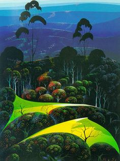 Eyvind Earle - Inland from the Sea - Limited Edition Serigraph print Eyvind Earle, New York City, Spiritual Photos, Disney Artists, Magic Realism, Up Book, Selling Art Online, Whimsical Art, American Artists