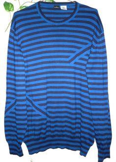Paul Smith Black Blue Stripes Men Cotton Sweater Size 2XL NEW RetAIL $265 #PaulSmith #Crewneck