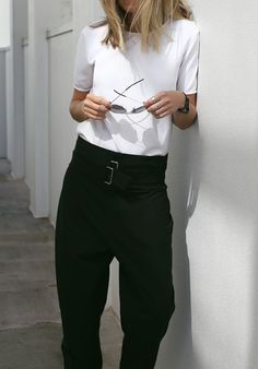 A simple white tee and black tailored trousers outfit is easy and effortless that could be worn with the Alfie One small bag for those laid back days. #AlfiedouglasUK http://alfiedouglas.com/collections/alfie-one/products/alfie-one-small-black?utm_content=bufferfe908&utm_medium=social&utm_source=pinterest.com&utm_campaign=buffer