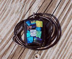 Patchwork Blues Dichroic Glass Pendant by LolasGlassPendants, $24.00