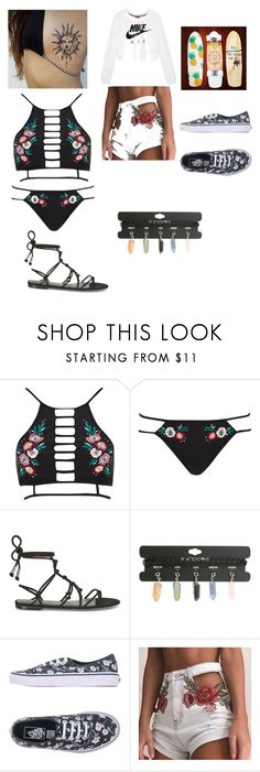 """""""Day at the beach cute floral bikini with black sandals and after to wear a throw on crop top nikes sweater and cute shorts with cute floral van sneakers and chokers"""" by jno712 ❤ liked on Polyvore featuring River Island, Rebecca Minkoff, Hot Topic, Vans and NIKE"""