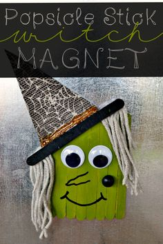 Popsicle Stick Witch Magnet! A wickedly cute non-scary Halloween craft. #craftingwithkids