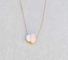 Ceramic Beads Minimal Necklace White Blush Pink Dusty Pink Nude