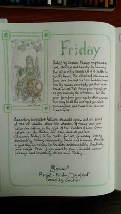 Days of the week / friday Wicca Witchcraft, Wiccan, Harry Potter Spells List, Witch Board, Gypsy Witch, Magic Symbols, Sabbats, Magic Spells, Book Of Shadows