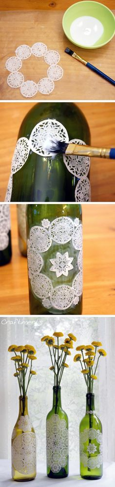 DIY / how to turn simple wine bottles into beautiful vases....little doilys are the secret <3