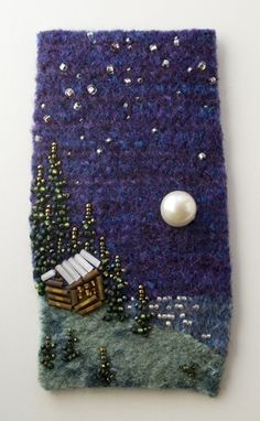 Large photo of Jacob's Moon, Jo Wood artist Felt Embroidery, Embroidery Stitches, Fabric Art, Fabric Crafts, Jo Wood, Fabric Brooch, Textile Fiber Art, Fabric Pictures, Fabric Jewelry