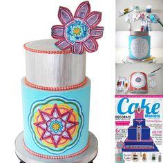 CAKE TUTORIAL: In the July issue of Cake Masters Magazine,gorgeous mandala… Hippie Cake, Cake Decorating Magazine, Cake International, London Cake, Cake Tutorial, Mandala Design, Food Art, Rainbow, Colours