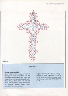 A good foundation for a square motif, which can then be used for a closth? Tatted Cross Bookmark