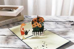 AITpop sunflower garden hand-crafted greeting card 3D Pop Up Card.#3Dcard