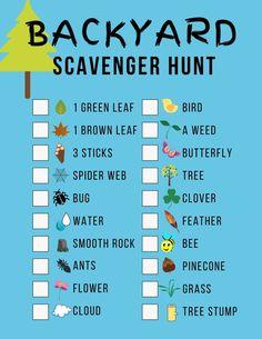 Backyard Scavenger Hunt (with Printable! Backyard Scavenger Hunts, Nature Scavenger Hunts, Scavenger Hunt For Kids, Indoor Activities For Kids, Educational Activities, Fun Activities, Outdoor Activities, Nature Hunt, Backyard For Kids