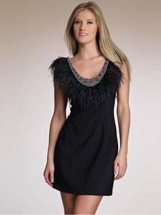 Sheath Short Length Black Satin Scoop Beaded and Feathered Cocktail Party  Dress of Open Back Dress 62c107818