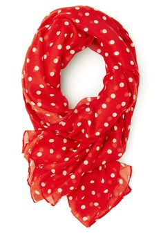 Dots to Discuss Scarf in Cherry. Your weekly coffee date with your BFF is the favorite thing on your social calendar! #red #modcloth [SOLD]