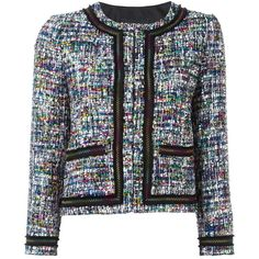 Boutique Moschino tweed jacket ($533) ❤ liked on Polyvore featuring outerwear, jackets, multicolor, boutique moschino, multi color jacket, tweed jacket, colorful jackets and multi colored jacket