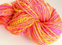 Handspun Yarn Bulky Wool Yarn- Miami Sun by FiberFusion, $32.00 USD