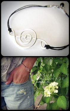 Sterling Silver Treble Clef Bracelet on black linen from JewelryByMaeBee on #Etsy. www.jewelrybymaebee.etsy.com