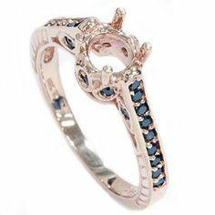 Rose Gold .25CT Vintage Black Diamond Ring Setting 14K Pompeii3 Inc.. $299.00