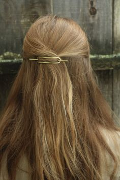 Hammered brass hair barrette small copper hair slide rustic hair clip simple modern minimalist hair accessories silver pony tail holder