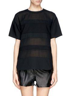 T BY ALEXANDER WANGCotton poplin voile and dobby stripe t-shirt