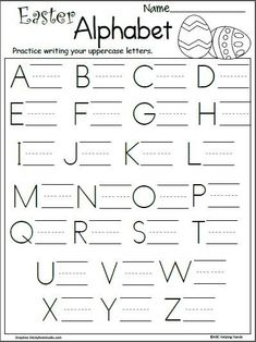 Free Easter letter writing worksheet for preschool and kindergarten. Work on uppercase letter writing by tracing and writing all of the letters in the alphabet… Letter Writing Worksheets, Abc Worksheets, Letter Writing For Kids, Letter Worksheets For Preschool, Kindergarten Prep, Kindergarten Math Worksheets, Preschool Writing, Preschool Learning, Learning Activities
