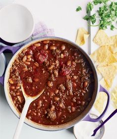Three-Chile Beef Chili, Tony Maws | Sometimes you wanta recipe that looks like it came straight from a restaurant's kitchen. Other nights, a dishyou can throw together between work andsoccer practice fits the bill. Here, we've compiled 10 gourmet recipes, courtesy of Food & Wine,that are sure to impress even the pickiest dinner guests—along with10 moreReal Simplefavorites that are a cinch to throw together, but just as delicious.