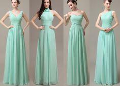 Mint bridesmaid dresses,chiffon bridesmaid dresses, long bridesmaid dress,Glamorous dress