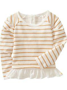 Old Navy Peplum Hem Sparkle Sweatshirts For Baby - Sea salt