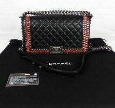 100% Authentic CHANEL Boy Bag Medium Encrusted With Stones Quilted Lim Ed NEW #CHANEL #BoyBagMedium
