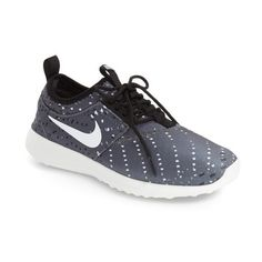 Women's Nike 'Juvenate' Print Sneaker (1 385 ZAR) ❤ liked on Polyvore featuring shoes, sneakers, nike shoes, stretching shoes, black and white sneakers, nike trainers and mesh sneakers