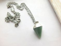 Jade Necklace - Jade Bohemian Necklace - Green Jade necklace -Cloudy Green Jade…