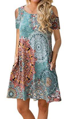 7051e46bf034c ETCYY Women's Cold Shoulder Casual Sundress T-Shirt Dress for Summer with  Pockets - https