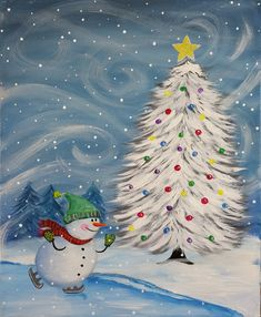 Paint and Sip Studio Christmas Canvas, Christmas Paintings, Noel Christmas, Winter Christmas, Christmas Crafts, Christmas Lights, Paint And Sip, Winter Painting, Winter Art