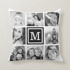 Black Monogram Instagram Photo Collage Throw Pillow