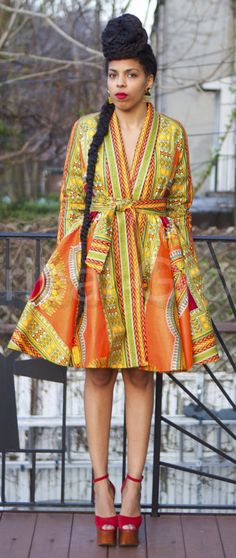 "AMORA Ready to ship in 3 to 5 business days (while in stock). Wrap Coat/Dress with matching sash Details Wear as a jacket or a wrap dress 100% cotton 100% Dashiki African Wax Fabric unlined 2 side pockets the length is a little above the knee in the front and a bit longer in the back. both models are about 5' 5"" tall. African print, african style, ankara, kente, fashion blogger (affiliate)"