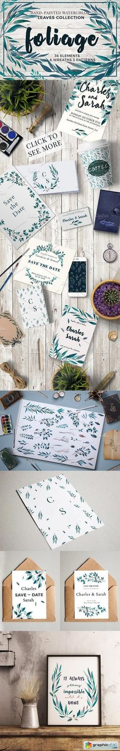 Foliage.Watercolor leaves collection  stock images