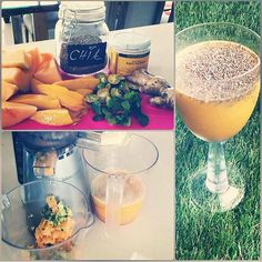 Drink of the day: melon, mango, calamansi or lemon, mint, ginger, honey and chia. Looking for a fun workout to get your body to the full? Click link on my bio