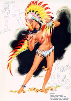 """lovethepinups: Bill Randall - """"Mona"""" - September 1956 Date Book Calendar - """"Indians and Cowboys! That's a game I like to play. Since Mona donned her warpaint, the West gets wilder every day. Pin Up Vintage, Vintage Ads, Gil Elvgren, Pin Up Girls, Choctaw Nation, Pin Up Drawings, Native American Beauty, Calendar Girls, Illustrations And Posters"""