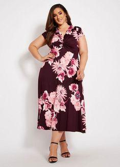 7e299bd012f Ashley Stewart knot front floral print maxi.  ashleystewart  plussize   plussizefashion