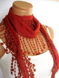 Cinnamon Scarf Turkish Fabric Fringed Guipure by WomanStyleStore, $14.00