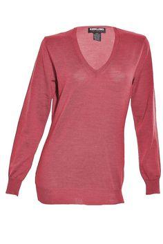 Italian Extra Fine Merino Wool Womens VNeck Sweater Knit Lightweight Shirt Top #Kirkland #VNeck