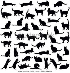 Cats collection - vector silhouette by Hein Nouwens, via Shutterstock