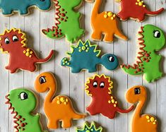 Dinosaurs | Etsy Engagement Cookies, Dinosaur Cookies, Cookie Flavors, Baby Shower Cookies, Royal Icing Cookies, The Perfect Touch, Friends In Love, Cookie Decorating, Gingerbread Cookies