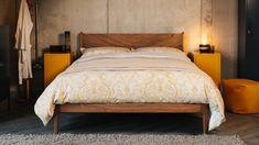 ochre-printed-bedding-on-walnut-Hoxton