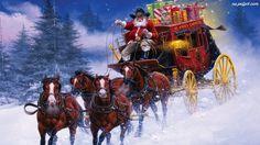 cowboy+santa | Prezenty, Konie, Powóz, Mikołaj, Śnieg