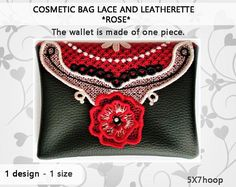 Roses - Embroidery design Cosmetic bag roses No.518 - 5x7hoop - video tutorial - lace and leatherette/INSTANT DOWNLOAD